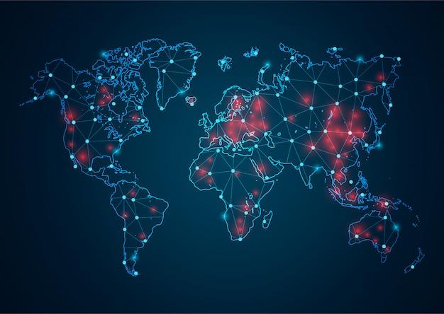 Abstrakte coronavirus- und punktskalen auf weißem hintergrund mit global. polygonale netzwerklinie, designkugel, punkt und struktur des drahtrahmens.