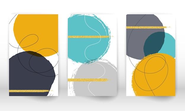 Abstrakte cover-vorlage. satz geometrischer formen und linien.