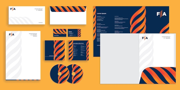 Abstrakte curly flame wave modern gas company corporate business identity stationär