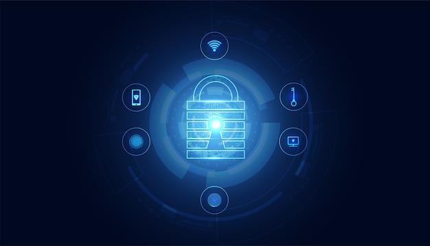 Abstrakte cyber-sicherheit mit vorhängeschloss blue circle icon-technologie