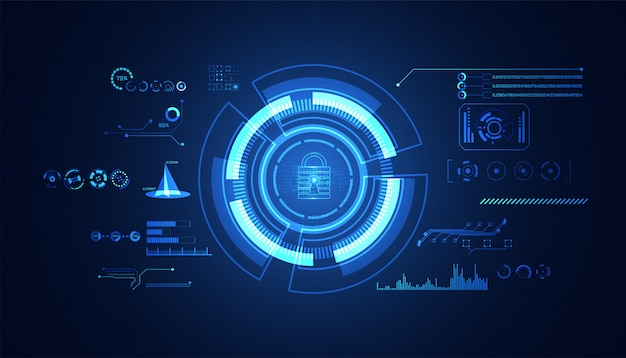 Abstrakte cybersicherheit mit blauem hud-schnittstellensymbol des vorhängeschlosses
