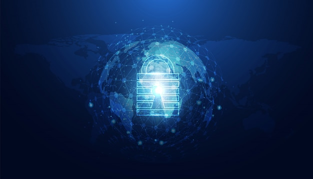 Abstrakte cybersicherheit mit blauem weltkreis des vorhängeschlosses