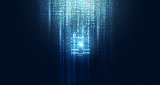 Abstrakte cybersicherheit mit blauer vorhängeschloss-binärtechnologie