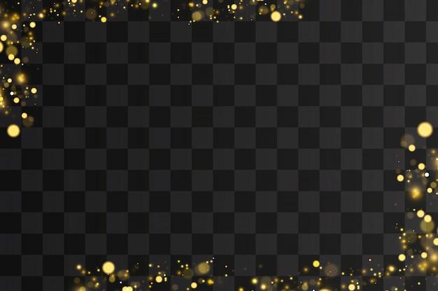 Abstrakte defokussierte kreisförmige goldene luxusgoldglitter-bokeh beleuchtet hintergrund. magisches konzept.