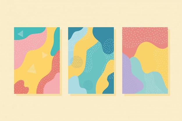 Abstrakte dekoration farbe im memphis-stil färbt broschüre oder deckt illustration ab