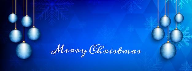 Abstrakte dekorative blaue fahne der frohen weihnachten