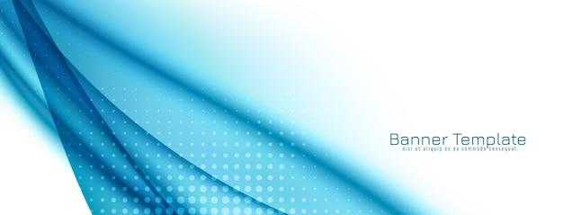 Abstrakte dekorative blaue wellenentwurfsfahne