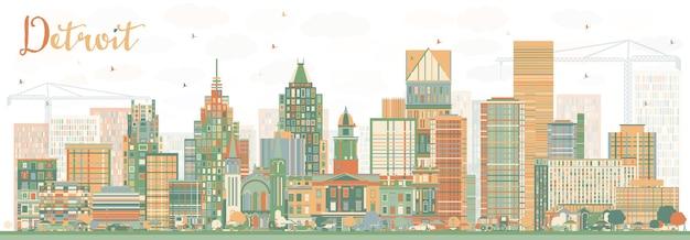 Abstrakte detroit-skyline mit farbgebäuden. vektor-illustration. geschäftsreise- und tourismuskonzept mit moderner architektur. bild für präsentationsbanner-plakat und website.