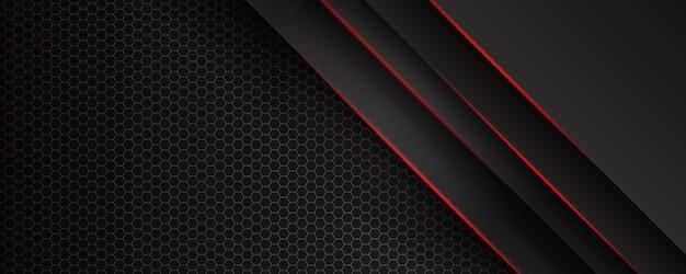 Abstrakte diagonale linien überlappen sich mit roter linie auf schwarzem hintergrund