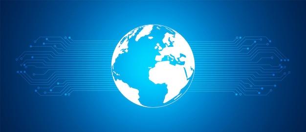 Abstrakte digitale globale technologie mit blauem leiterplattenmuster