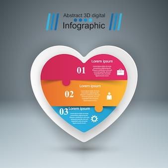 Abstrakte digitale illustration 3d infographic. herz-symbol.