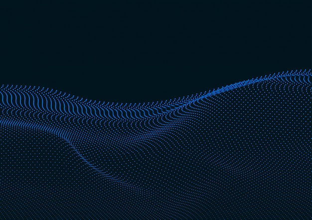 Abstrakte digitale landschaft mit flüssigen partikeln