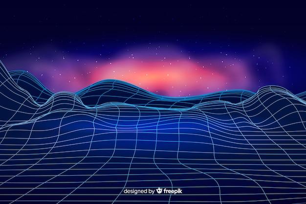 Abstrakte digitale landschaft mit partikelhintergrund