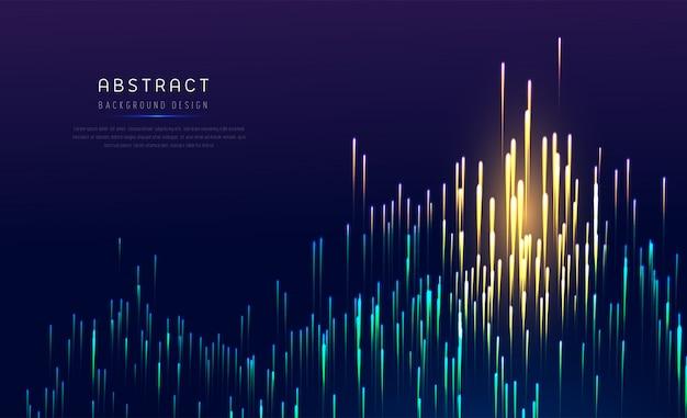Abstrakte digitale neonlinien von glühenden partikeln. tonne lichteffekt.