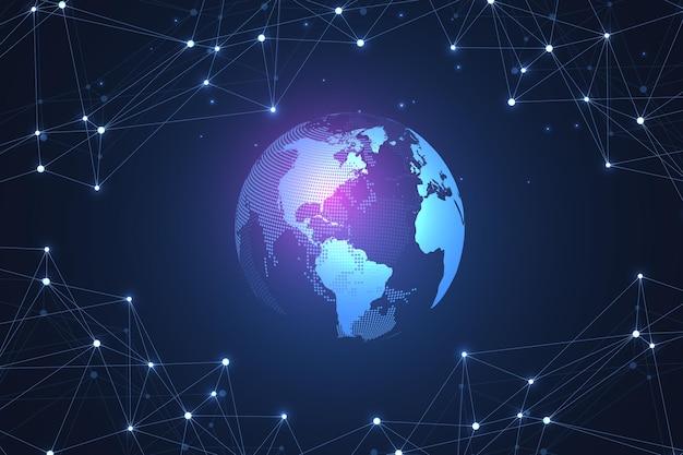 Abstrakte digitale netzwerkverbindungsstruktur auf blauem hintergrund. künstliche intelligenz und technisches technologiekonzept. globales netzwerk big data, lines plexus, minimales array. vektor-illustration.