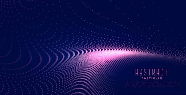 Abstrakte digitale partikel bewegen hellen hintergrund wellenartig