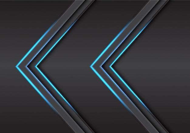 Abstrakte doppelscheinlichtrichtung des blauen pfeiles auf moderne futuristische technologiehintergrund-vektorillustration des grauen metalldesigns.