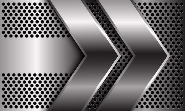Abstrakte doppelte silberne pfeilrichtung auf dem modernen luxus-futuristischen hintergrund des kreismaschenmusterdesigns.