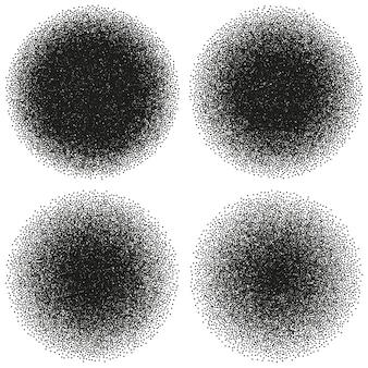 Abstrakte dotwork-objekte des halbtonkreises. laute vorlage. und beinhaltet auch