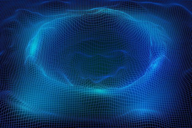 Abstrakte drahtgitterlandschaftshintergrund 3d futuristische netzberge