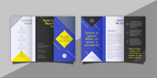 Abstrakte dreifach gefaltete broschüre mit vorder- und rückseite