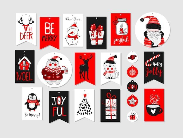 Abstrakte druckbare tags-sammlung für weihnachten, neujahr. adventskalender. vektor-illustration. frohe feiertage