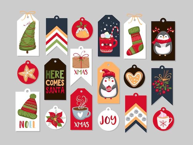 Abstrakte druckbare tags-sammlung für weihnachten, neujahr. vektor-illustration. frohe feiertage