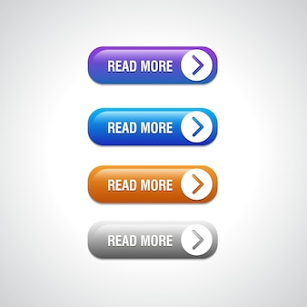 Abstrakte drucktasten lesen sie mehr für die verwendung in website, benutzeroberfläche, app und spieloberfläche. moderne webelemente.