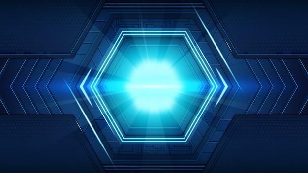 Abstrakte dunkelblaue futuristische kreisschaltungsmuster des digitalen hud mit fackelstrahlhintergrund. hi-tech-illustration.