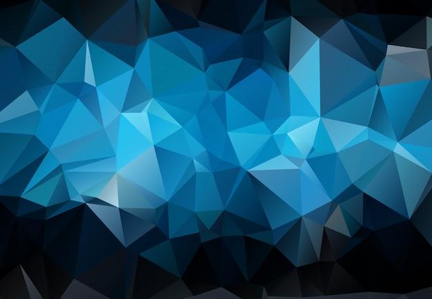 Abstrakte dunkelblaue polygonale abbildung, die aus dreiecken besteht.