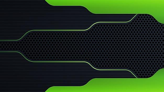 Abstrakte dunkelgraue fahne auf schwarzer kreismasche mit moderner futuristischer technologiehintergrundvektorillustration des grünen lichtdesigns.
