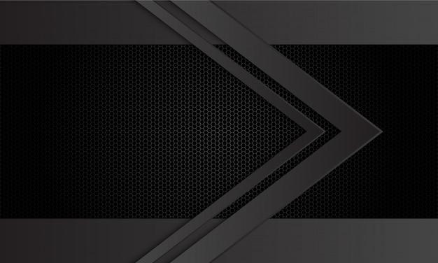 Abstrakte dunkelgraue pfeilrichtung auf schwarzen hexagonmaschen-musterhintergrund.