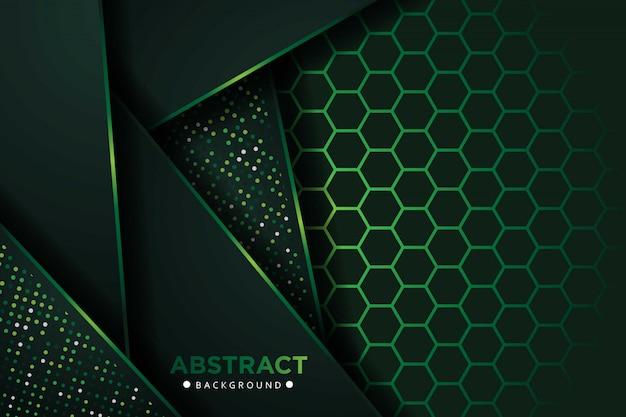 Abstrakte dunkelgrüne überlappungsebenen mit sechseck-netzmusterhintergrund