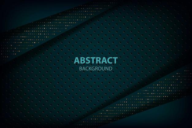 Abstrakte dunkelgrüne überlappungsschichten mit kreismuster und goldenem glitzerpunkt modernen futuristischen hintergrund