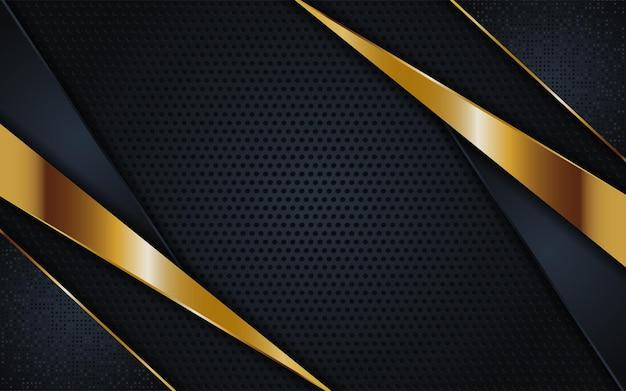 Abstrakte dunkle goldene linien mit überlappendem strukturiertem hintergrund