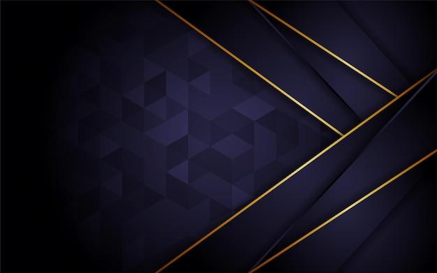 Abstrakte dunkle lila dreieck-textur-hintergrund-kombination mit linie goldelement