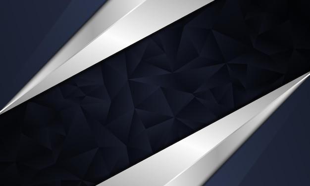 Abstrakte dunkle marine und weißes metallic mit polygonalem hintergrund. vektor-illustration.