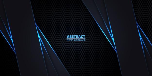 Abstrakte dunkle sechseck-kohlefaser, technologie, futuristischer, moderner hintergrund.