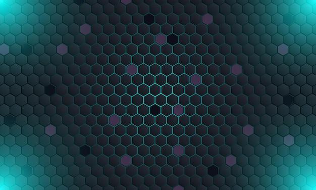 Abstrakte dunkle technologie sechseckig mit blauem licht background.vector illustration.