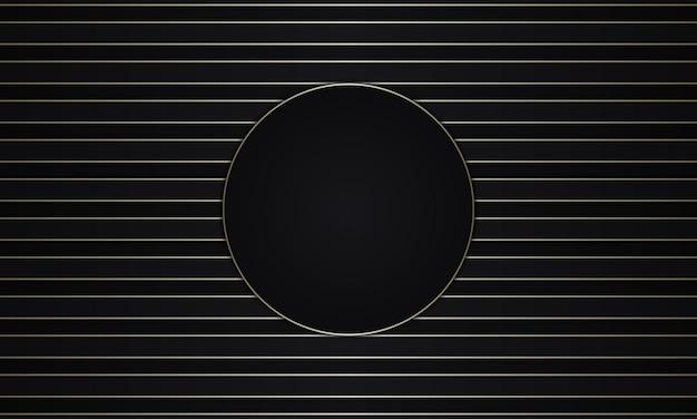 Abstrakte dunkle und goldene luxusstreifen mit kreis in der mitte. vektor-illustration.