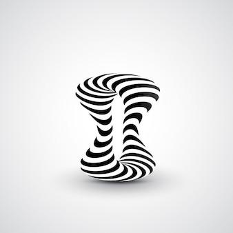 Abstrakte dynamische abbildung, schwarzweiss-kunst 3d, futuristische wellenabbildung