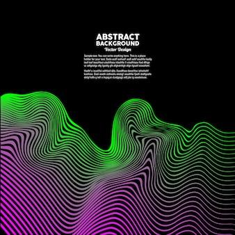Abstrakte dynamische wellen auf dunklem hintergrund vektor-illustration