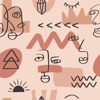 Abstrakte einzeilige kontinuierliche zeichnung steht vor nahtlosem muster. minimalismuskunst, ästhetische kontur. kontinuierliche linie paar stammes-porträt. moderne vektorillustration im ethnischen stil