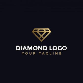 Abstrakte elegante diamant-schmuck-linie logo design template