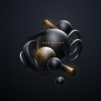 Abstrakte elegante glitzernde tapete mit schwarzen 3d-geometrischen formen cluster-wolke