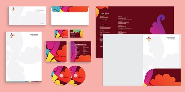 Abstrakte elegante luxusblätter corporate business identity stationär