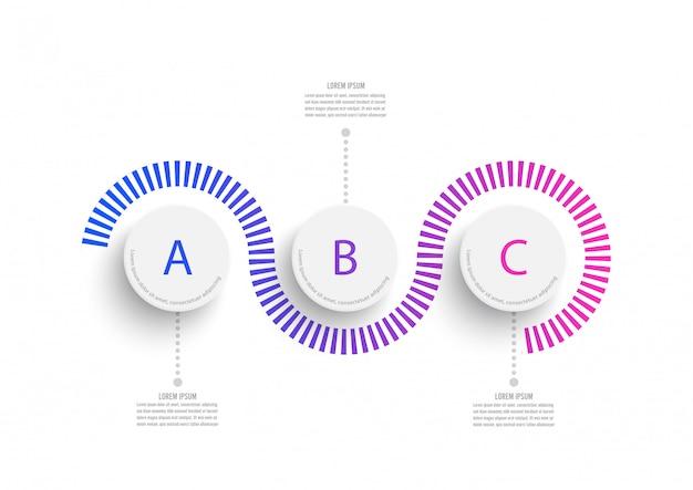 Abstrakte elemente der grafischen infografikschablone mit beschriftung, integrierte kreise. geschäftskonzept mit 3 optionen.