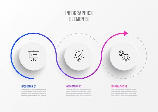 Abstrakte elemente der infographic schablone des diagramms mit aufkleber, integrierte kreise. geschäftskonzept mit 3 optionen.