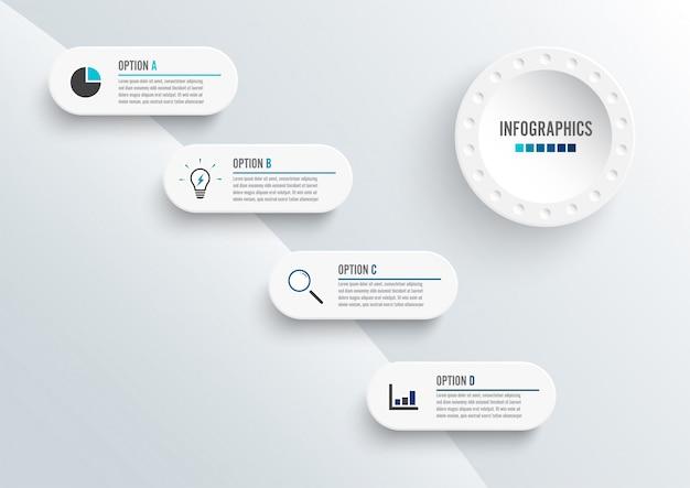 Abstrakte elemente der infographic schablone des diagramms mit aufkleber, integrierte kreise. geschäftskonzept mit 4 optionen.