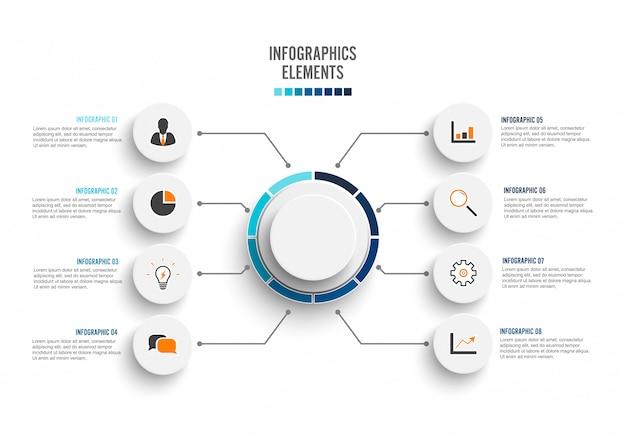 Abstrakte elemente der infographic schablone des diagramms